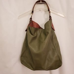 Maurizio Taiuti Avocado Green Peppled Leather Hobo